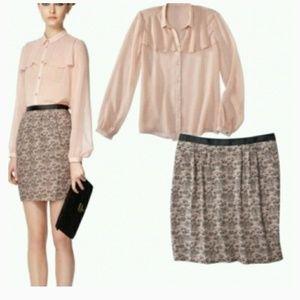 NWOT Jason Wu Lace-Printed Straight Skirt in Blush